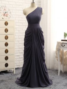 Floor Length Empire Sleeveless Grey Court Dresses for Sweet 16 Zipper