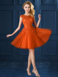 Orange Red Lace Up Quinceanera Court of Honor Dress Lace and Belt Cap Sleeves Knee Length