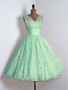 Fancy Lace Sleeveless Mini Length Quinceanera Court Dresses and Lace