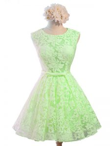 Scoop Sleeveless Court Dresses for Sweet 16 Knee Length Belt Lace
