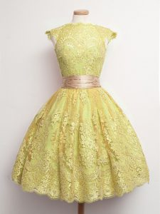 Discount Knee Length Ball Gowns Cap Sleeves Gold Quinceanera Court Dresses Lace Up