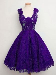 Fabulous Purple Quinceanera Dama Dress Prom and Party and Wedding Party with Lace Straps Sleeveless Lace Up