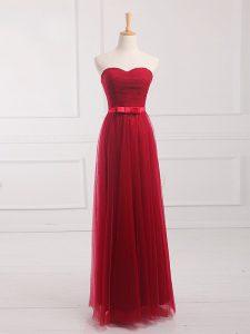 Stylish Sleeveless Lace Up Floor Length Belt Dama Dress for Quinceanera