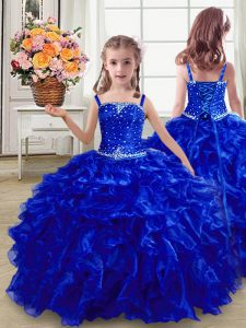 Floor Length Lace Up Little Girl Pageant Dress Royal Blue for Wedding Party with Beading and Ruffles