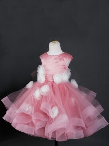 Superior Pink Kids Pageant Dress Wedding Party with Ruffles and Hand Made Flower Bateau Cap Sleeves Zipper
