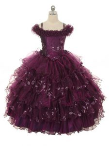 Floor Length Ball Gowns Sleeveless Burgundy Little Girl Pageant Dress Lace Up