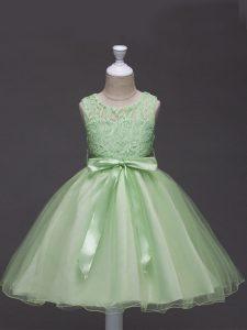 Lace and Belt Little Girl Pageant Dress Yellow Green Zipper Sleeveless Knee Length
