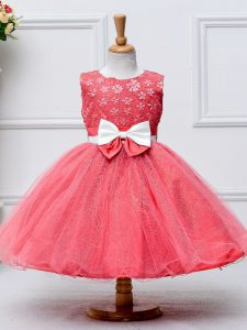 Sleeveless Tulle Knee Length Zipper Little Girl Pageant Gowns in Coral Red with Lace and Bowknot