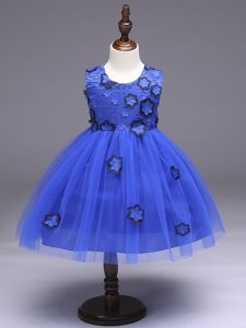 Super Royal Blue Scoop Zipper Appliques and Bowknot Girls Pageant Dresses Sleeveless