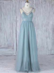 Inexpensive Grey Zipper V-neck Lace Quinceanera Court Dresses Tulle Sleeveless