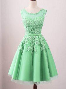Enchanting Green Sleeveless Knee Length Lace Lace Up Dama Dress