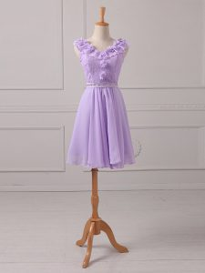 Unique Mini Length Lace Up Dama Dress Lavender for Prom and Party and Wedding Party with Lace and Appliques