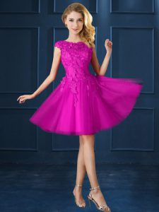 Hot Selling Fuchsia Cap Sleeves Knee Length Lace and Belt Lace Up Dama Dress