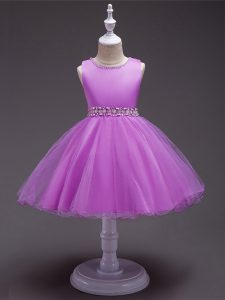 Excellent Scoop Sleeveless Zipper Girls Pageant Dresses Lilac Organza