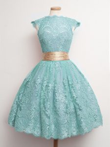 Admirable Belt Quinceanera Dama Dress Aqua Blue Lace Up Cap Sleeves Knee Length