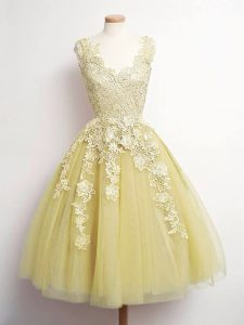 Gold Lace Up V-neck Lace Vestidos de Damas Tulle Sleeveless