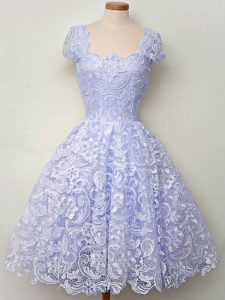 Fantastic Lavender Lace Up Dama Dress Lace Cap Sleeves Knee Length