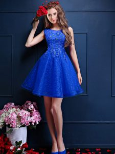 Artistic Royal Blue A-line Beading and Lace Dama Dress for Quinceanera Lace Up Tulle Sleeveless Knee Length