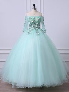 Luxurious 3 4 Length Sleeve Floor Length Beading Lace Up Quinceanera Gown with Apple Green