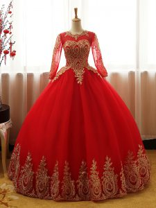 Stylish Red Long Sleeves Organza Lace Up Vestidos de Quinceanera for Sweet 16 and Quinceanera