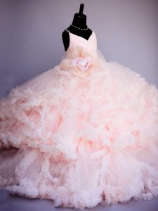 On Sale Tulle Sleeveless Pageant Gowns For Girls Brush Train and Ruffles and Hand Made Flower