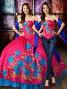 Extravagant Hot Pink Sleeveless Embroidery Floor Length Vestidos de Quinceanera
