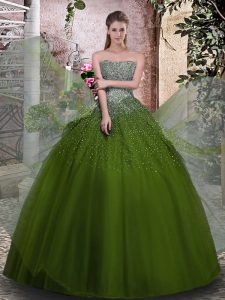 Comfortable Olive Green Ball Gowns Strapless Sleeveless Tulle Floor Length Lace Up Beading Sweet 16 Quinceanera Dress