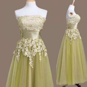 Delicate Tea Length Lace Up Dama Dress for Quinceanera Olive Green for Prom and Party and Wedding Party with Appliques