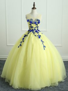 Floor Length Ball Gowns Sleeveless Light Yellow Ball Gown Prom Dress Lace Up