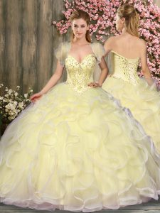 Decent Light Yellow Lace Up Sweetheart Beading and Ruffles Quinceanera Dress Tulle Sleeveless