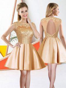 Champagne A-line Bateau Sleeveless Taffeta Knee Length Backless Beading and Lace Damas Dress