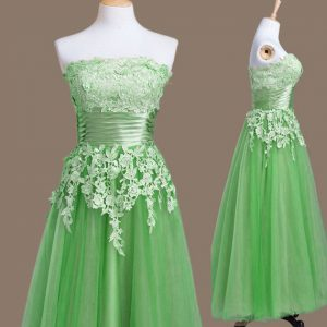 Flirting Green Empire Appliques Court Dresses for Sweet 16 Lace Up Tulle Sleeveless Tea Length