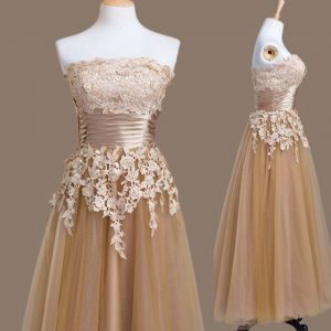 Luxury Brown Empire Strapless Sleeveless Tulle Tea Length Lace Up Appliques Quinceanera Dama Dress