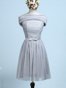Ideal Strapless Sleeveless Quinceanera Court Dresses Mini Length Belt Grey Tulle