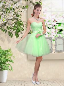 Sleeveless Knee Length Lace and Belt Lace Up Court Dresses for Sweet 16 with