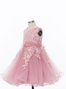 Knee Length Zipper Little Girl Pageant Dress Pink for Wedding Party with Appliques and Hand Made Flower
