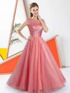 Watermelon Red Backless Bateau Beading and Lace Quinceanera Dama Dress Tulle Sleeveless