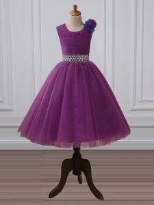 Tea Length Zipper Little Girls Pageant Dress Purple for Wedding Party with Beading and Hand Made Flower