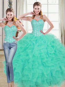 On Sale Sleeveless Beading and Ruffled Layers Lace Up 15th Birthday Dress with Turquoise Brush Train