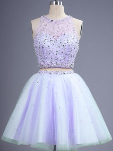 Sophisticated Sleeveless Knee Length Beading Lace Up Damas Dress with Lavender