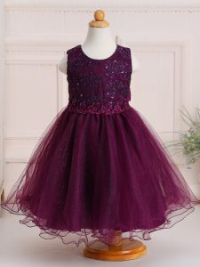 Sleeveless Knee Length Appliques Zipper Kids Pageant Dress with Burgundy