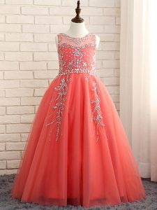 Watermelon Red A-line Scoop Sleeveless Tulle Floor Length Zipper Beading Kids Formal Wear