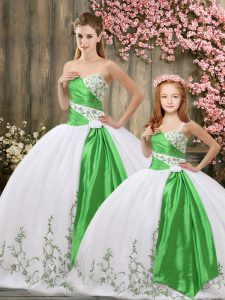 White Organza Lace Up 15th Birthday Dress Sleeveless Floor Length Embroidery and Belt