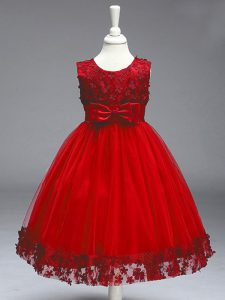 Sleeveless Knee Length Lace and Bowknot Zipper Little Girls Pageant Dress Wholesale with Wine Red