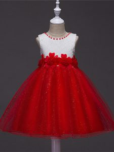 Simple Wine Red Scoop Zipper Lace and Hand Made Flower Little Girls Pageant Dress Wholesale Sleeveless