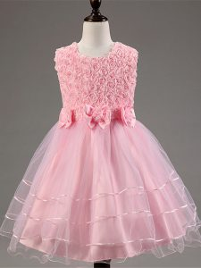 Baby Pink Sleeveless Tulle Zipper Little Girls Pageant Gowns for Wedding Party