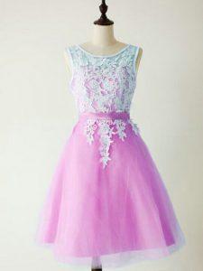 Romantic Scoop Sleeveless Vestidos de Damas Knee Length Lace Lilac Tulle