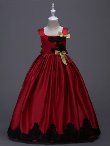 Wonderful Wine Red Sleeveless Floor Length Appliques and Bowknot Zipper Kids Pageant Dress