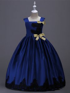 Royal Blue Zipper Square Appliques and Bowknot Child Pageant Dress Taffeta Sleeveless