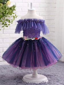 Tulle Off The Shoulder Short Sleeves Lace Up Beading and Hand Made Flower Pageant Gowns For Girls in Purple